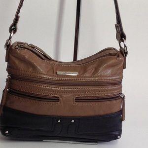 Stone & Co Black & Brown Leather  Crossbody Bag